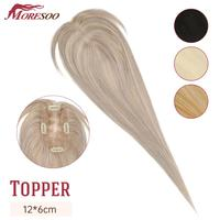 Moresoo Hair Topper Human Hair Hair Pieces 12*6cm 8 16inches Straight Hair Machine Remy Hair Clips for Women Toupee