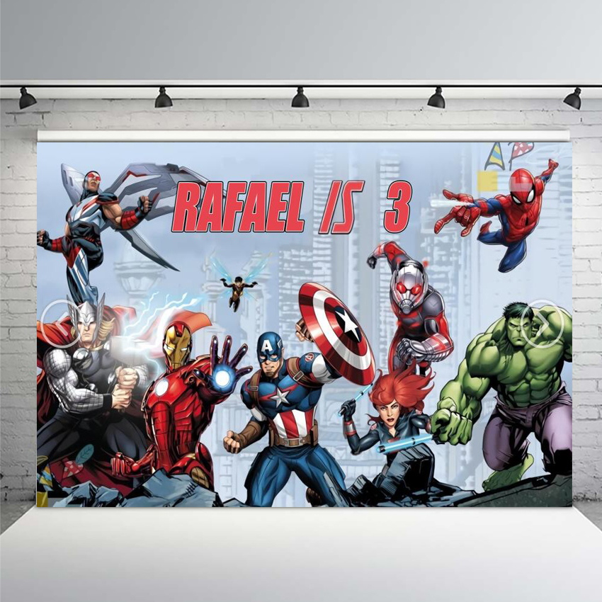 Comics Superhero Avengers Spiderman Photography Backdrop Children 1st Birthday Photo Backdrop Prop Studio Backdrop Background