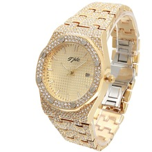 TPLE All Diamond Watches Round Luxury Men Watch Hip Hop Men Fashion Date Quartz Iced Out Bling Watch
