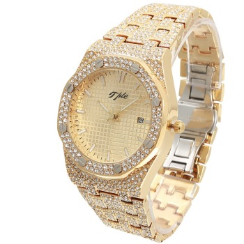 TPLE All Diamond Watches Round Luxury Men Watch Hip Hop Men Fashion Date Quartz Iced Out Bling Watch hip hop luxury mens iced out cz waterproof watches date quartz wrist watches with micropave alloy watch for men jewelry