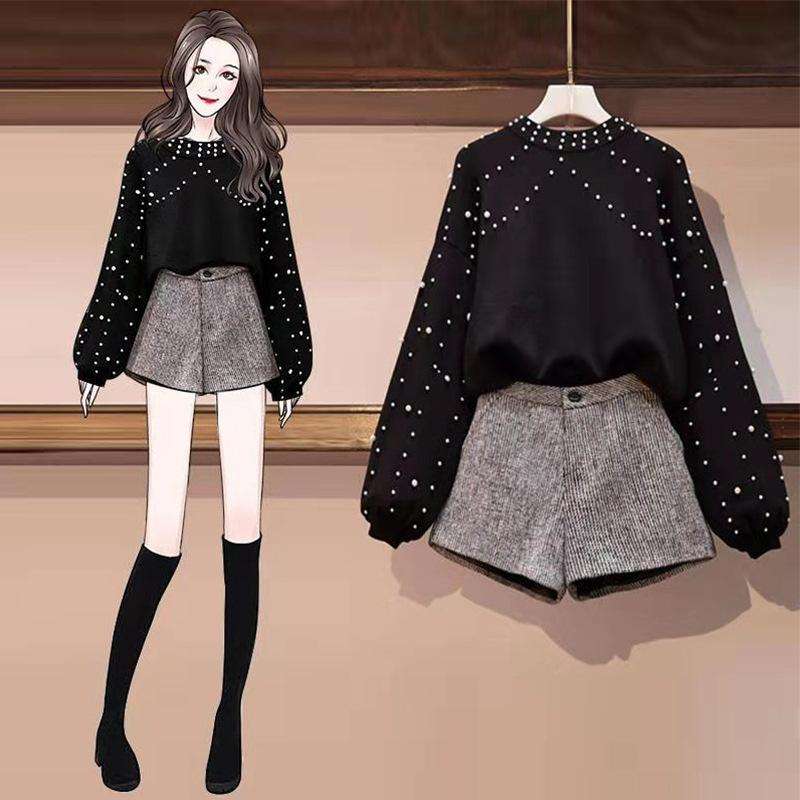 ICHOIX 2 Piece Set Women Pearl Black Sweater + Woolen Shorts Elegant Korean Outfits Women Set Clothes Kawaii Winter Shorts Set