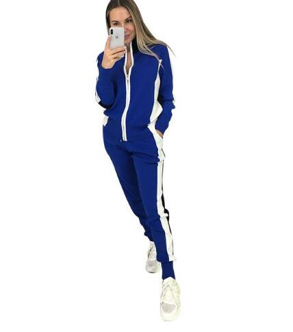 Femmes Zip pull + pantalon crayon costumes automne rayure couture manches longues Cardigans pantalon tricoté 2 pièces ensembles femme bleu - 2