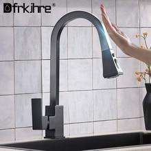 Preto fosco pull out sensor de cozinha torneiras indução inteligente aço inoxidável torneira misturada girar controle toque pia