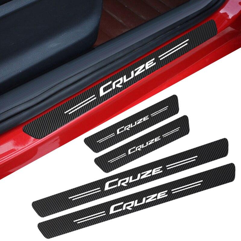Protetor do peitoril da porta do carro adesivo filme 4 pçs anti risco de carbono scuff pedal guardas capa para chevrolet cruze colorado faísca captiva