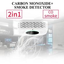 2 ב 1 באיכות גבוהה אלחוטי מעורר עשן אש רגיש גלאי אבטחת בית מעורר פחמן חד חמצני גלאי