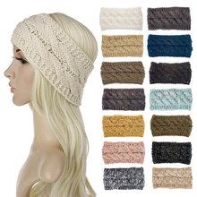 Вязаная повязка на голову зимние утепленные аксессуары для волос