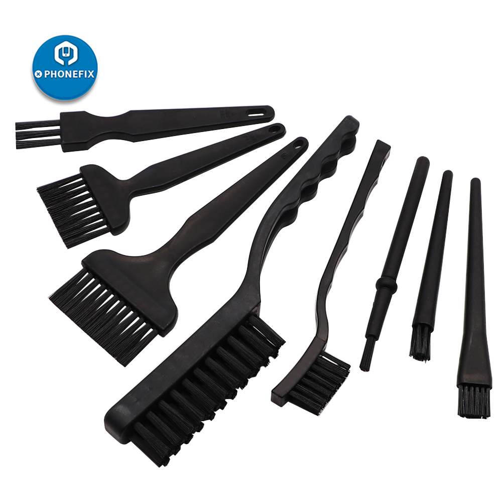 PHONEFIX 8Pcs Brush Set Anti-static Brush ESD Safe Cleaning Brush For Electronics Tool Kit PCB BGA Repair Cleaning Tools