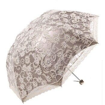 Вечерние женские кружевные зонты с украшением, для девочек, принцесса, УФ-Солнцезащитный зонт, Модный женский зонтик от дождя, Свадебный зон...