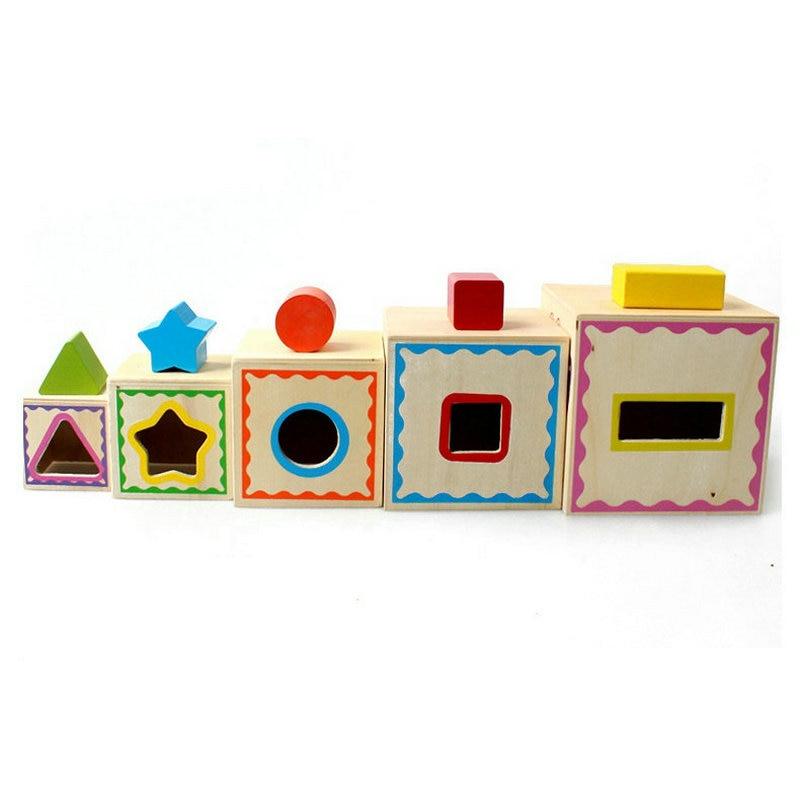 Caixa de madeira clássica da forma do jogo da forma de cinco camadas, correspondência da forma da cognição das crianças, brinquedos inteligentes da educação precoce das crianças