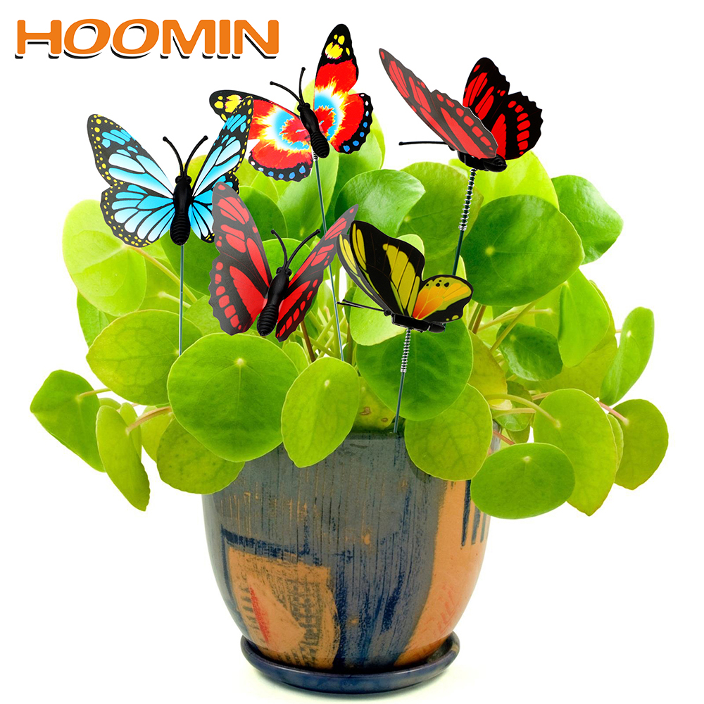 HOOMIN Colorful Butterfly Stakes Outdoor Decor Garden Supplies 5 Pcs/Bunch Butterfly Flower Pots Decoration With Pile