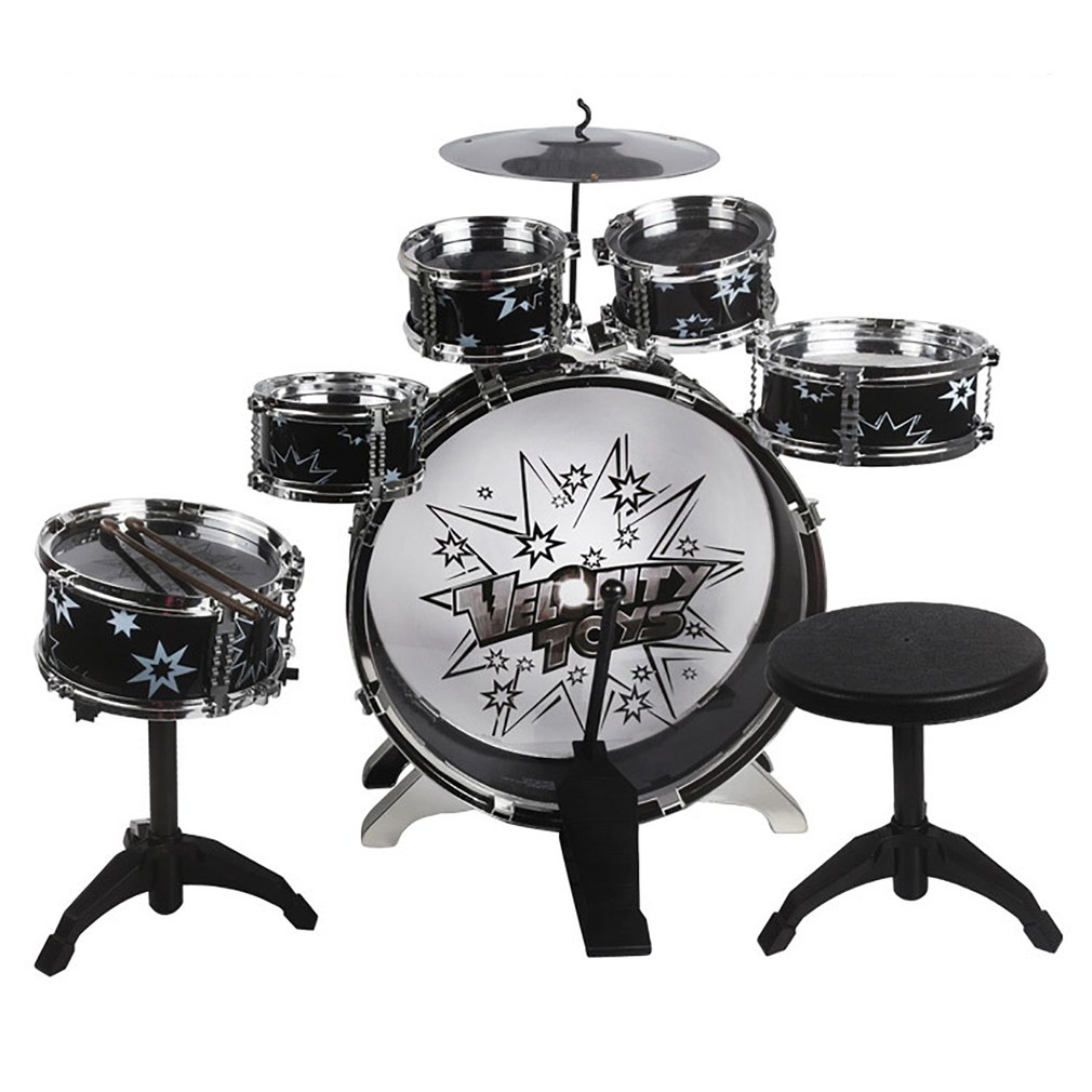 11-Piece Kids Drum Percussion Musical Instrument Toy Set with Small Stool Drum Sticks for Kids