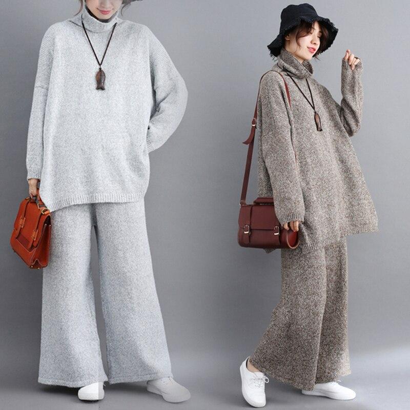 Plus Size 2 Piece Set Tracksuit Women Outfits Winter Vintage Knitting Sweater Suit Tops Loose Pants Turtleneck Female Clothes