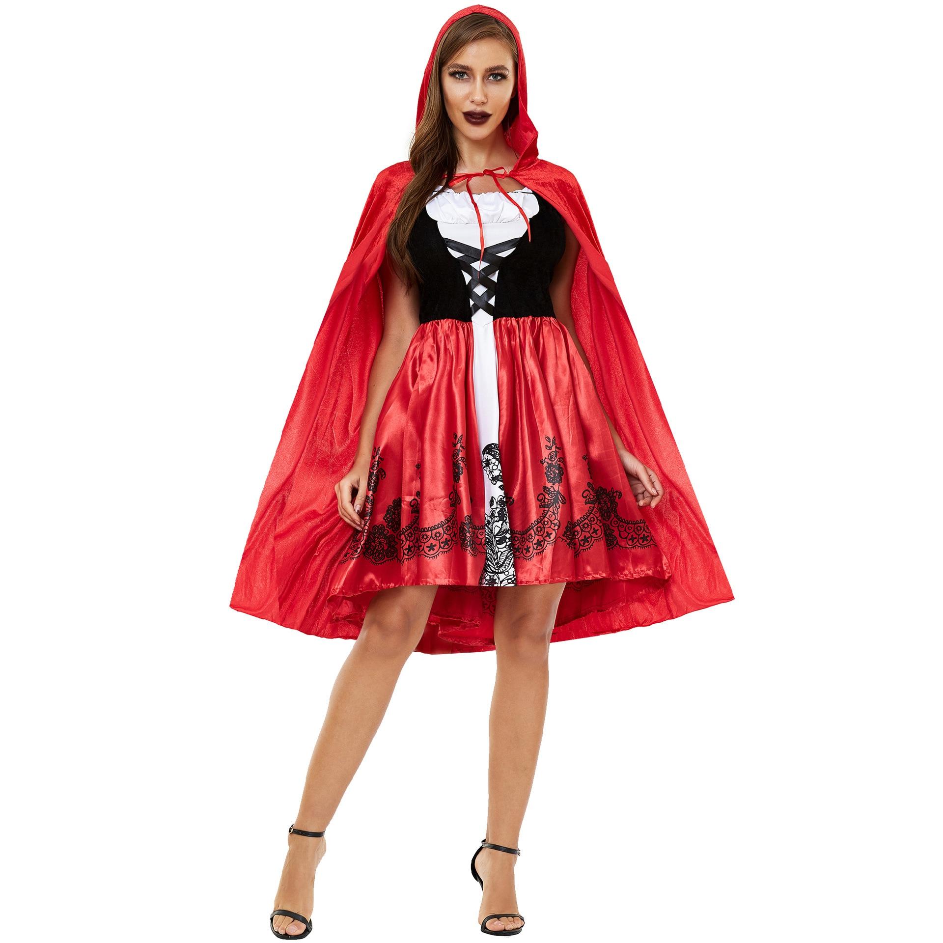 Купить s 3xl толще с маленькой красной накидкой капюшоном платье красное