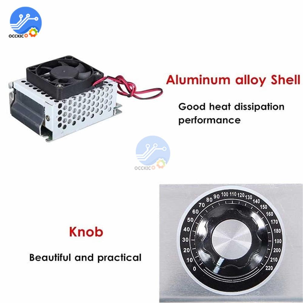4000W 220V AC SCR Motor Speed Controller Module Voltage Regulator Dimmer+Shell