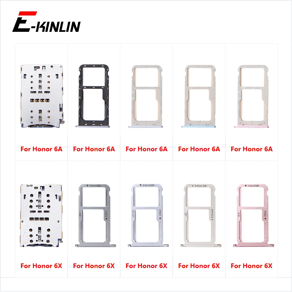 Sim Card Tray Socket Slot Reader Adapter For HuaWei Honor 6A 6X Micro SD Card Holder Connector Container Replacement Parts