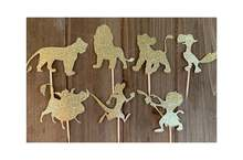 7 pces liongold glitter toppers/leão cupcake toppers festa decoração