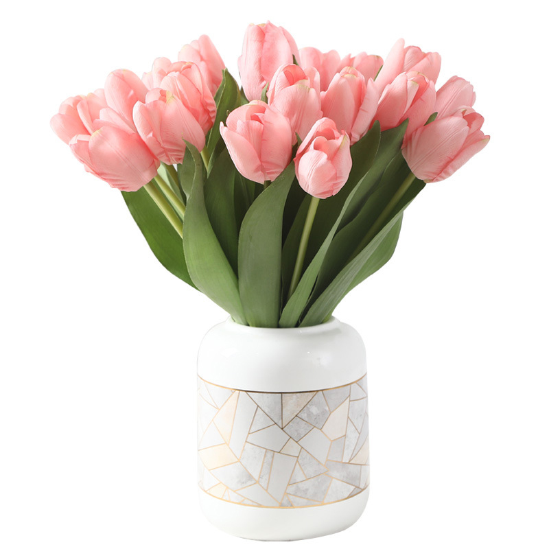 10PCS tulip artificial flower real feeling artificial bouquet fake flower wedding decoration flower home garden decoration
