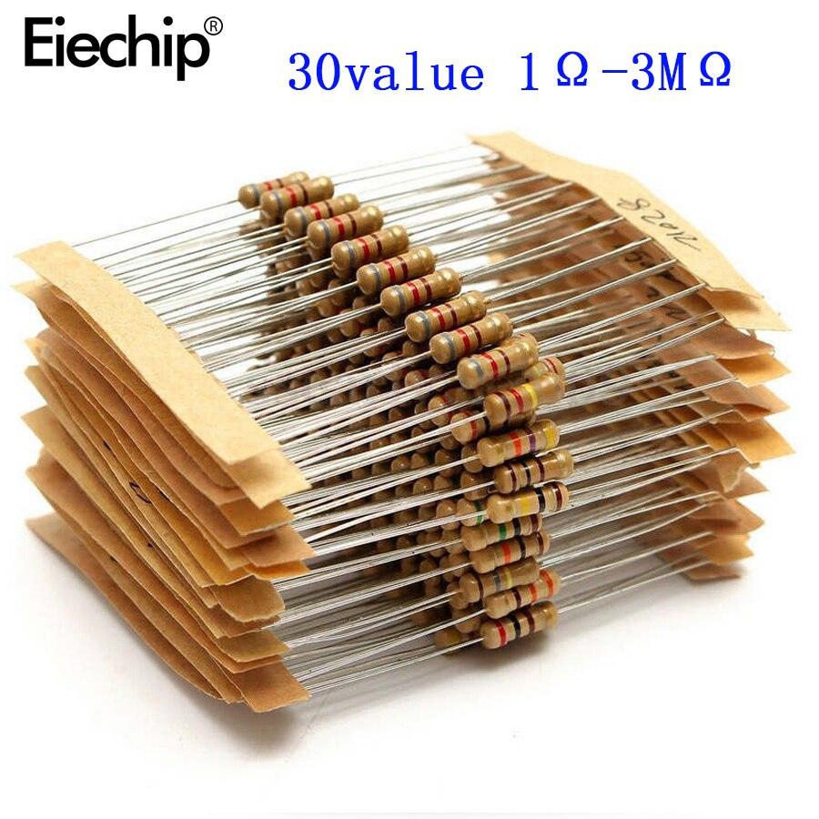 Resistencias de película de carbono, Kit surtido de resistencias de Metal de 1/2W, 30 ohm-3m ohm, 30 valores, 300 Uds., gran oferta