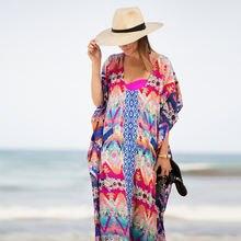 Шифоновые пляжные закрывающие туники для пляжа длинные кафтан