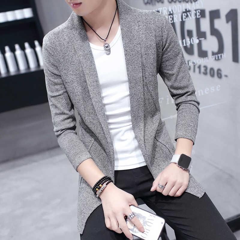 Homme Automne à manches longues Manteau Cardigan Korean Style Casual Hooded Cape Cardigans