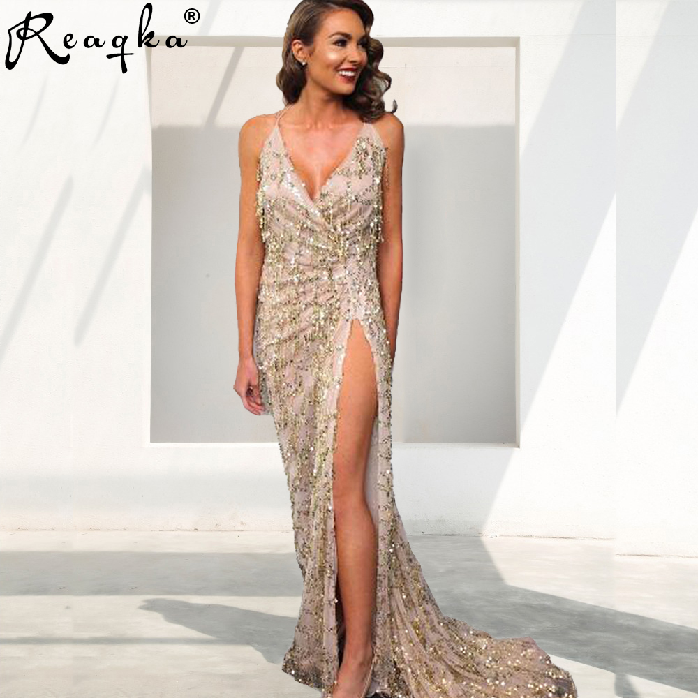 Reaqka Gold Sequin Sundress <font><b>2018</b></font> New Clothing <font><b>Women</b></font> <font><b>Sexy</b></font> Backless Split Luxury Sequined Tassel Party <font><b>Club</b></font> Wear Maxi HL <font><b>Dress</b></font> image