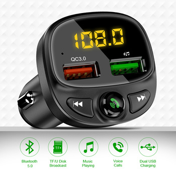 Udyr Car Charger 3.4A Dual USB Car Phone Fast Charger with FM Transmitter Bluetooth Receiver Audio MP3 Player TF Card Car Kit 1