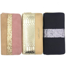KANDRA New Fashion Women Two Tone Wallet Glitter Patchwork Coin Purse Card Holder Crocodile Print PU Leather Phone Wallets 2020