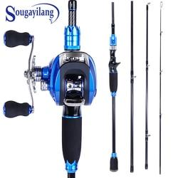 Sougayilang Blue Fishing Lure Rod and Baitcasting Reel Combo Carbon Casting Rod and Casting Fishing Reel Set Pesca Pole