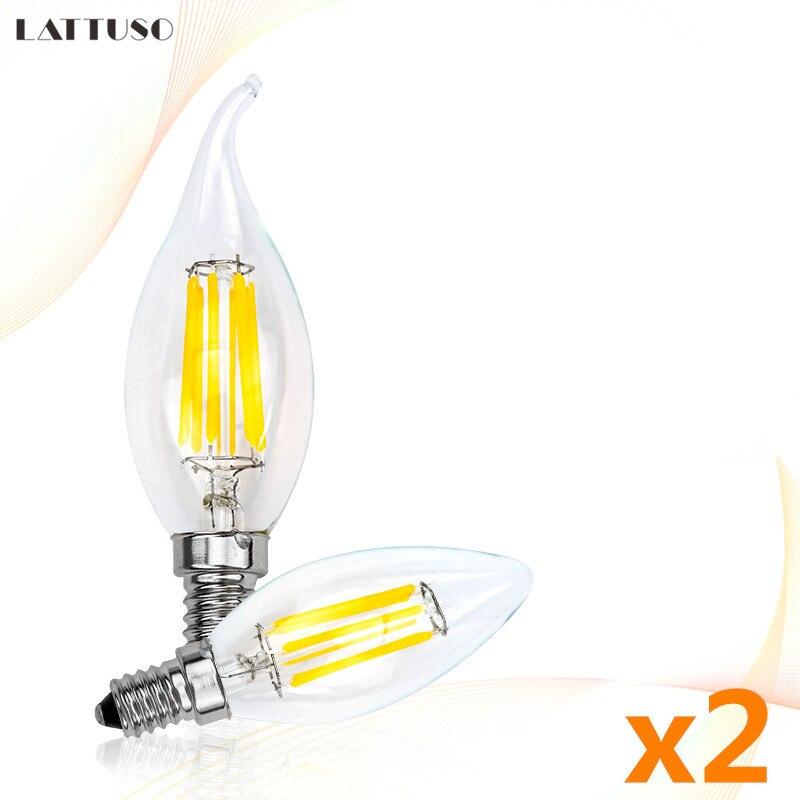 2 шт./лот Светодиодная лампа C35 C35L лампы в форме свечи лампы E14 2 Вт, 4 Вт, 6 Вт, AC220V ретро античная стеклянная лампа Эдисона винтажные светодиодн...