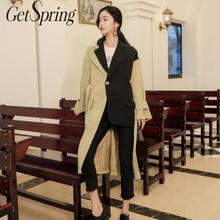 Getвесенний Женский Тренч, пальто с разноцветными асимметричными длинными тренчами, асимметричное винтажное пальто оверсайз, новое осенне-зимнее пальто