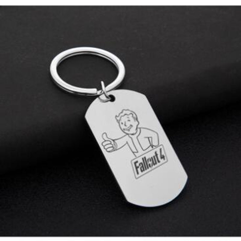 New Fallout 4 Vault Boy Keychain Stainless Steel Keyring Pendant Figure Toy Fans Jewelry For Women And Men