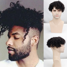 Eseewigs Mens Toupee Kinky Curly PU Hair Replacement With Soft Skin Swiss Lace Hairpiece for Men 100% Remy Human hair Color 1B