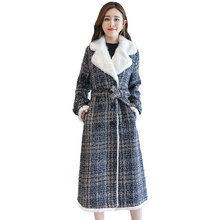 New Thick Woolen Coat Women Autumn and Winter 2019 Turn-down Collar Plus Velvet Slim Long Plaid Wool Blends Winter Outerwear new women wool blends long coat autumn winter 2019 fashion sashes woolen jacket slim outerwear female