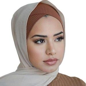 2020 women stretch turban cap cotton inner hijab caps muslim underscarf islamic headscarf bonnet turban femme musulman turbante