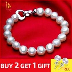 NYMPH pearl jewelry bracelets baroque pearl bracelets fine jewlery white freshwater pearl gift for women S007