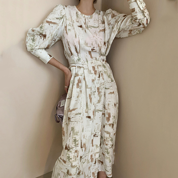Elegant Ladies Office Spring Dress Fashion Print Women Slim Midi Vestidos OL Autumn Dresses
