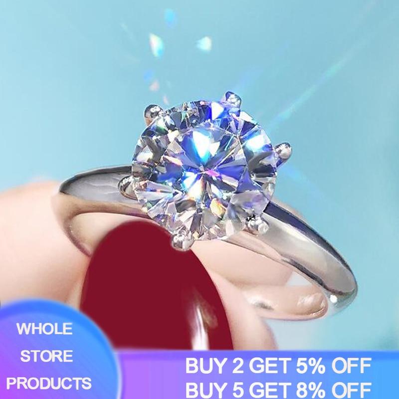 Скидка 95%! Роскошные 2ct большой лаборатория циркония драгоценных камней Кольца для женщин с покрытием 18-ти каратным белым золотом Свадебные ...