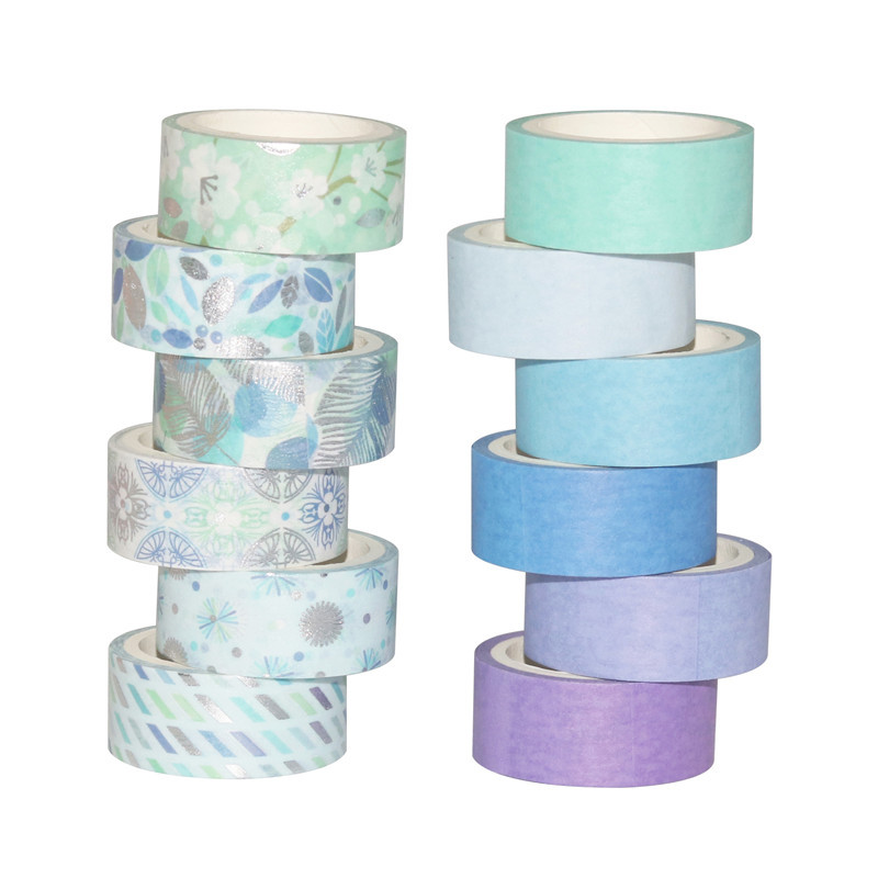 12Rolls/Set Blue Silver Foil Washi Tape Set Paper Festival DIY Scrapbooking Adhesive Masking Tape Decorative Sticky Washi Tape