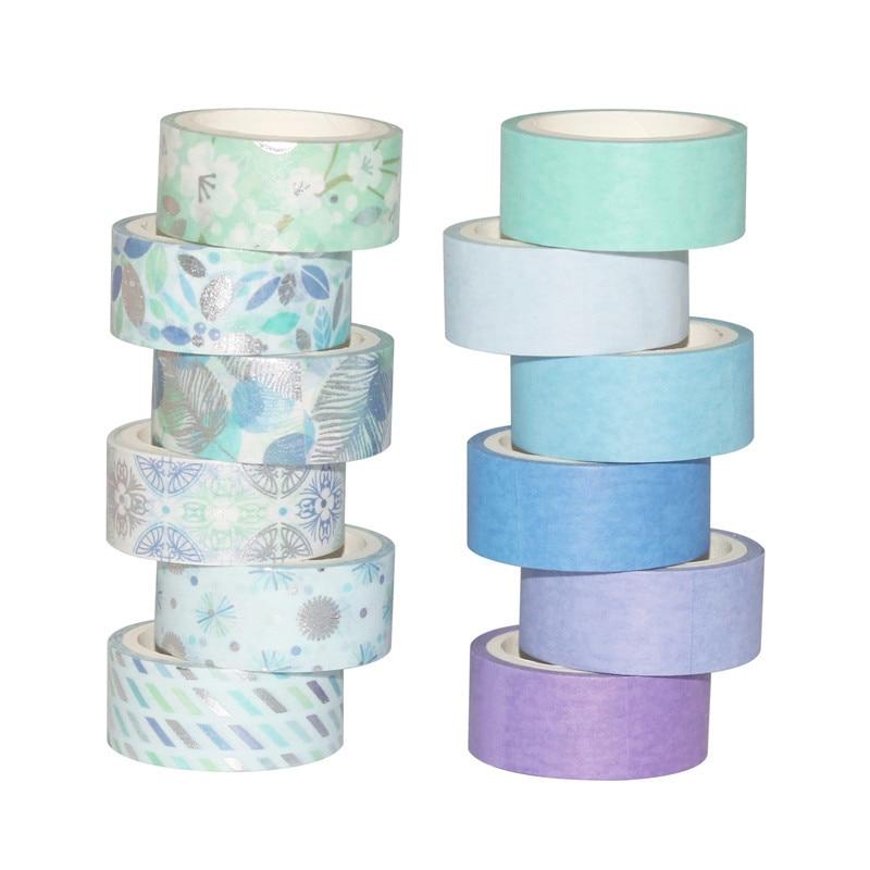 12Rolls/Set Blue Silver Foil Washi Tape Set Paper Festival DIY Scrapbooking Adhesive Masking Tape Decorative Sticky Washi Tape