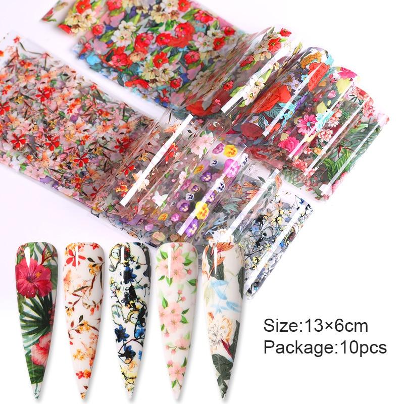 10 шт., декоративная Фольга для ногтей с цветными тропическими листьями