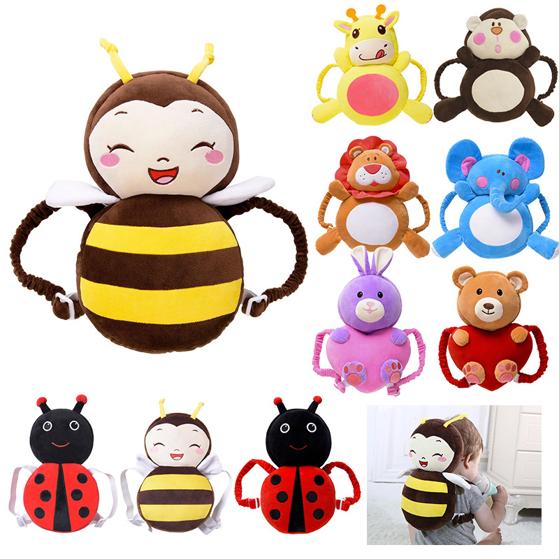 Toddler Baby Head Protection Cushion Plush Toys Adjustable Baby Head Protector Angel Bee Deer Pillow Pads for Learning Walk Sit