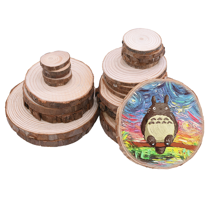 1-10pcs Natural Round Wood Pieces Unfinished Tree Bark Round Wooden Wedding Birthday Party Painting Decoration DIY Craft