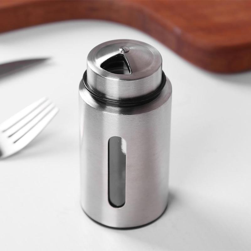 Нержавеющая сталь кухонная бутылка для приправ Вращающаяся крышка шейкеры видимые специи перец шейкер специи банка приправа банка