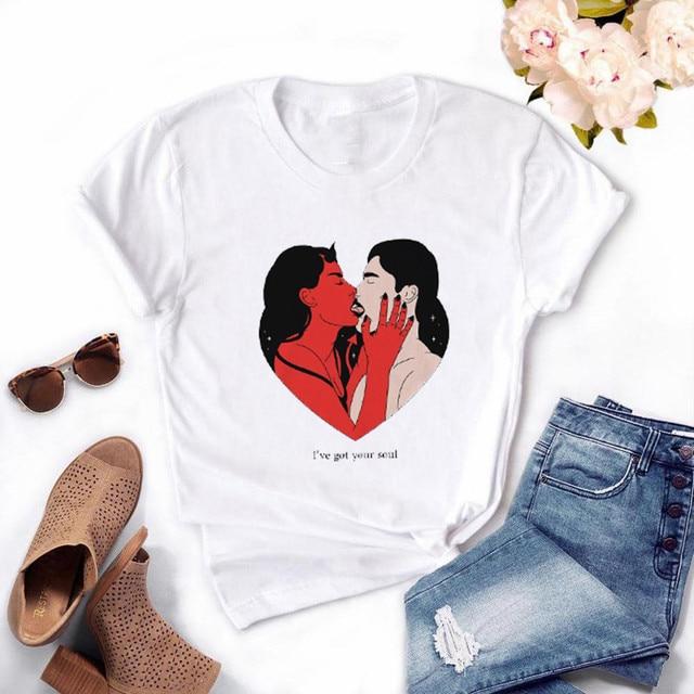 Femmes démon drôle T-shirt 2020 été Ulzzang Femme Vintage Harajuku T-shirt fille 90s graphique T-shirt, livraison directe