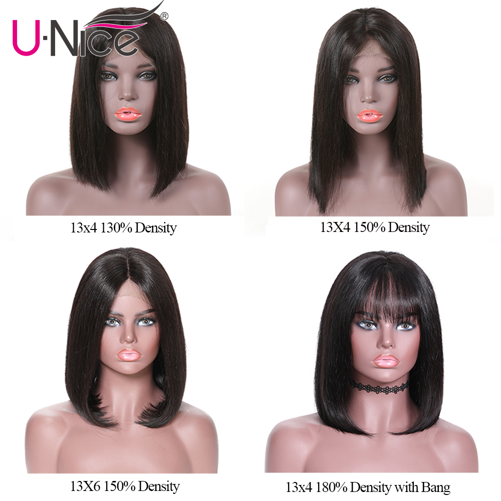 Image 2 - Unice Hair 13*4/6 Lace Front Human Hair Wigs Wigs 8 14 Inch Straight Short Blunt Cut Bob For Black Women Brazilian Remy Hair-in Lace Front Wigs from Hair Extensions & Wigs