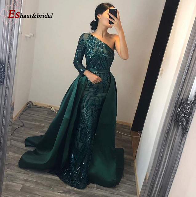 Elegant Evening Dress 2020 Muslim Long Sleeves Mermaid with Detachable Train Sequin One Shoulder Prom Party Gowns