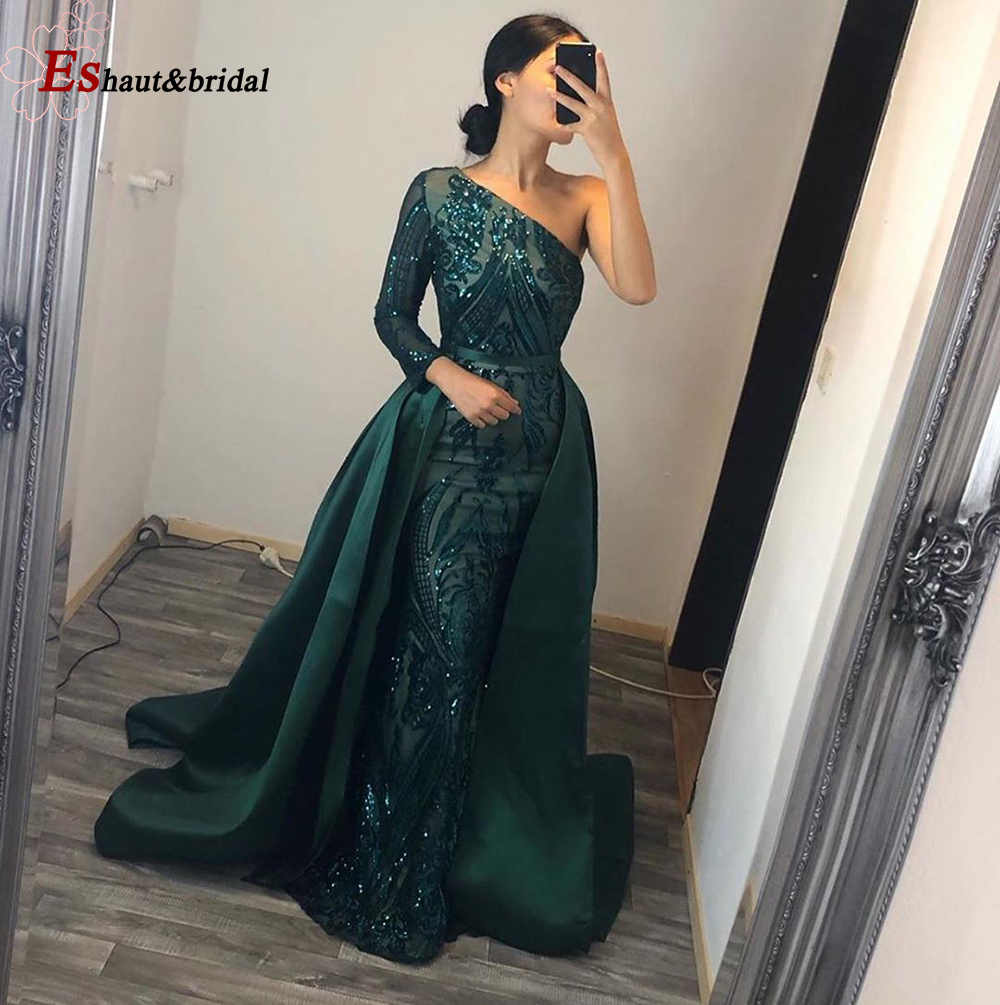 Long Sleeves Evening Dress 2019 Elegant Muslim Mermaid Long Sleeves With Detachable Train Sequin One Shoulder Prom Party Gowns