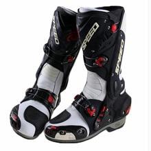 Ботинки в байкерском стиле; обувь для скоростных гонок; защитная Экипировка для мотоциклистов; кожаная обувь с высоким голенищем; нескользящая водонепроницаемая обувь; B1003