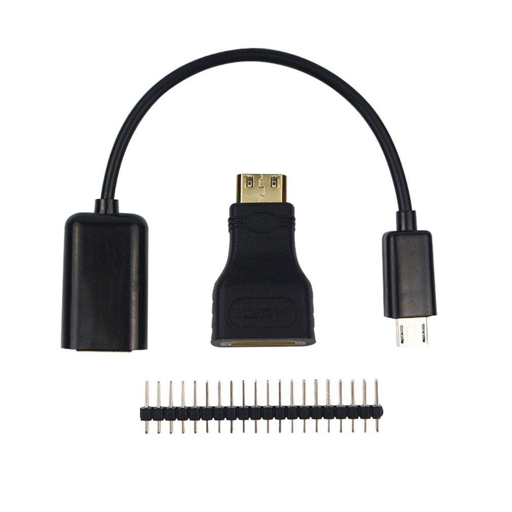 For Raspberry Pi Zero 1.3 Starter Kit Mico Usb To OTG Line + HDMI Connector+40p Pin Header For Pi 0 Compact Size