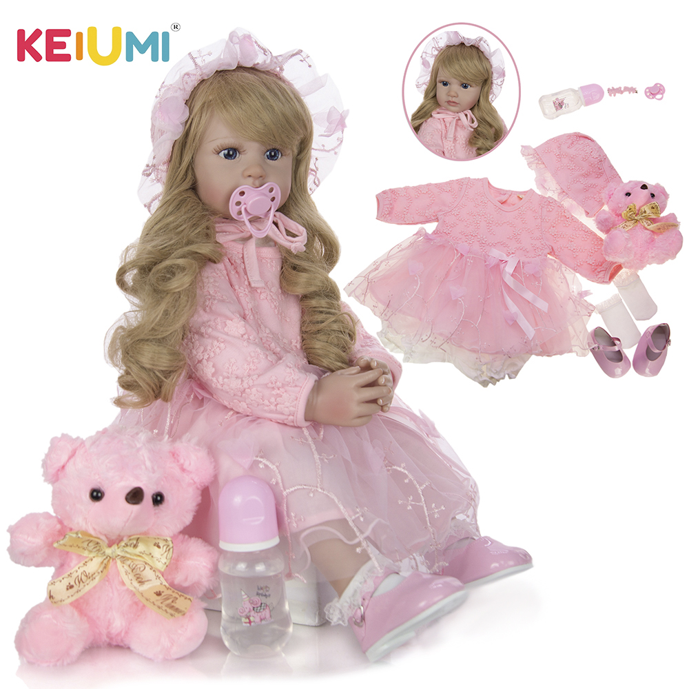 Neue Design KEIUMI Elegante Reborn Baby Mädchen Puppen 24'' 60 cm Prinzessin Weiche Vinyl Baby Reborn Mit Lange Gold Lockige weihnachten Geschenke